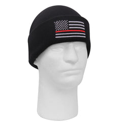 Rothco Thin Red line Embroidered Watch Cap Black (5433) / Caps / Hats - Iceberg Army Navy