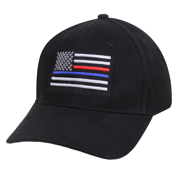 Rothco Thin Red & Blue line Low Profile Cap Black (9754) / Caps / Hats - Iceberg Army Navy