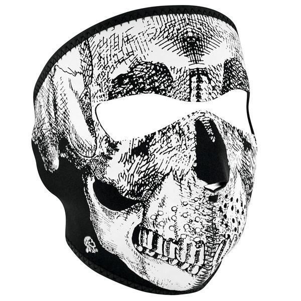 Neoprene Full Face - Black & White Skull Mask (WNFMT002) / Mask - Iceberg Army Navy