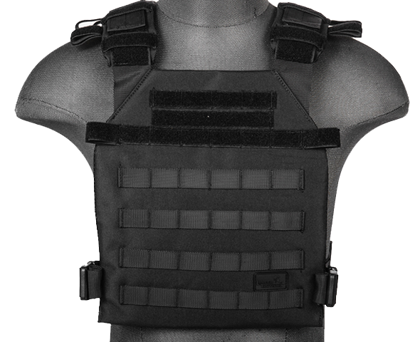 Black Lightweight Plate Carrier Vest (LWPC) / Tactical Vest - Totowa Airsoft