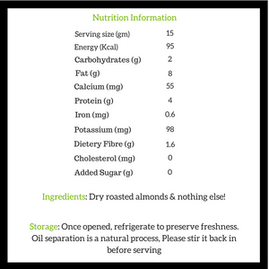 Natural Almond Butter Nutritional Information