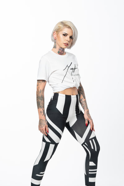 Black and White Geometric Design Tight