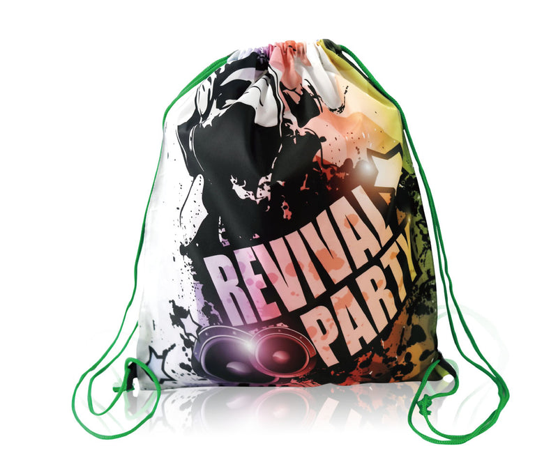"Promotional Polyester Backpack Cinch Bag Custom Printing - 13""W X 16""H"