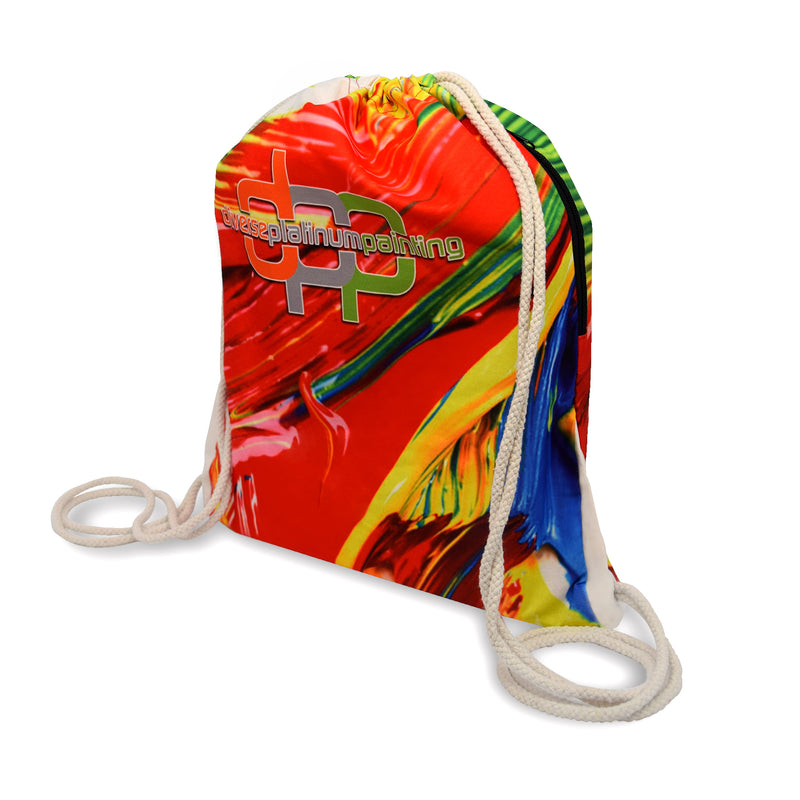 "Poly Cotton Promotional Backpack with Side Pocket - 13.5""W X 8""H"