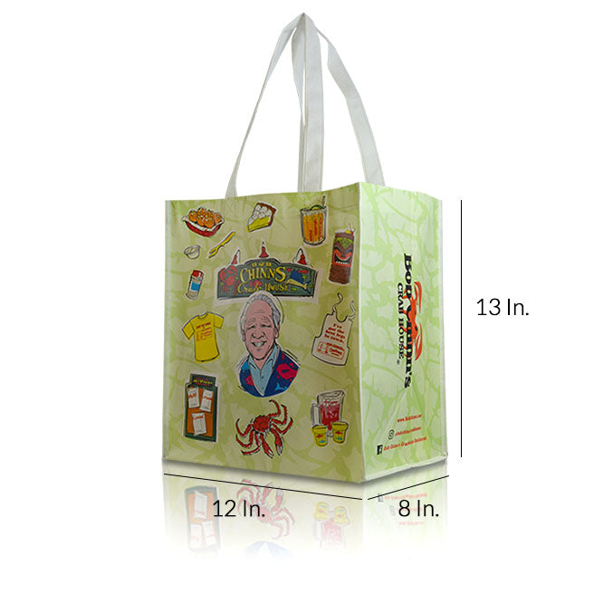 "Extra Large Laminated Non Woven Shopping Bags With Handles 12""W X 13""H X 8""D - Dimensions - Prime Line Packaging"
