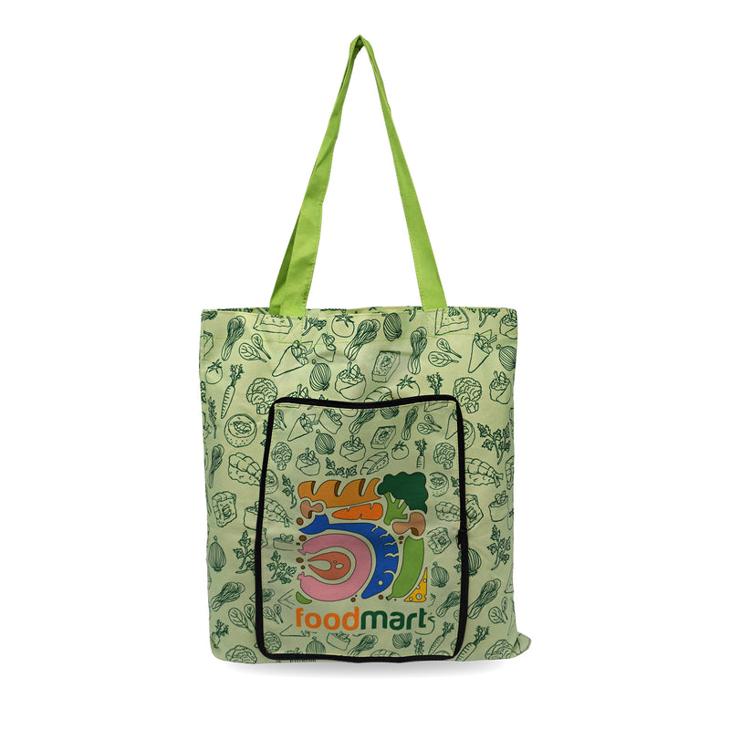 "Custom Printed 5 Oz Poly Cotton Folding Zippered Tote Bag 15""W x 16""H"