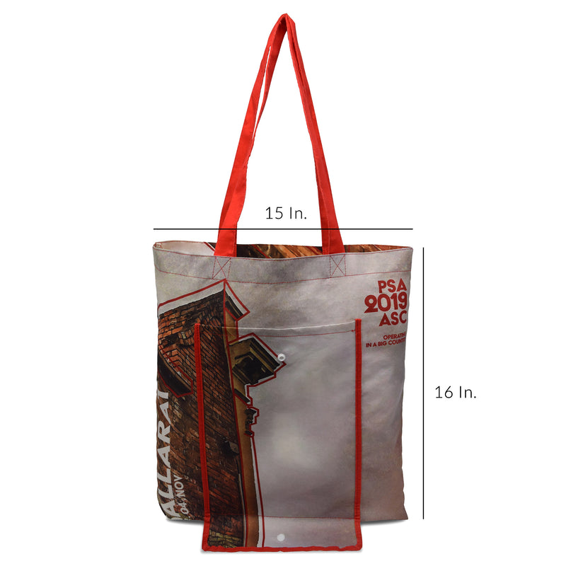 "5 Oz Poly Cotton Folding Snap Tote Bag 15""W x 16""H"