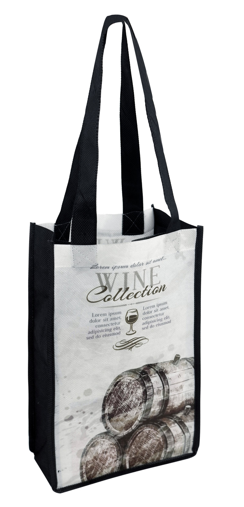 "Wine Bottle Bags Reusable With Custom Printing - 2 Bottles - 7""W X 12""H X 3.5""D"
