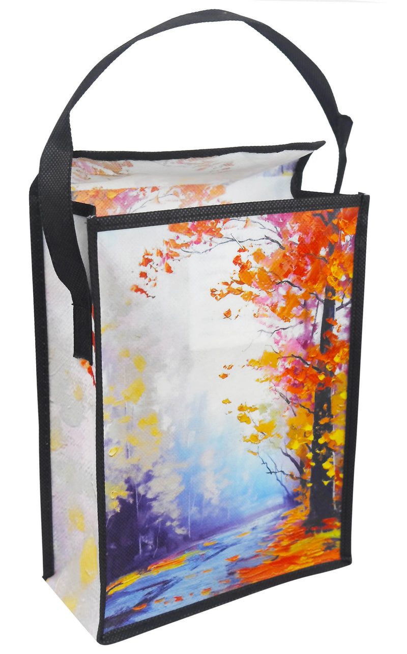 "Reusable Lunch Bag With Single Handle Custom Printing - 8""W X 10""H X 4""D"