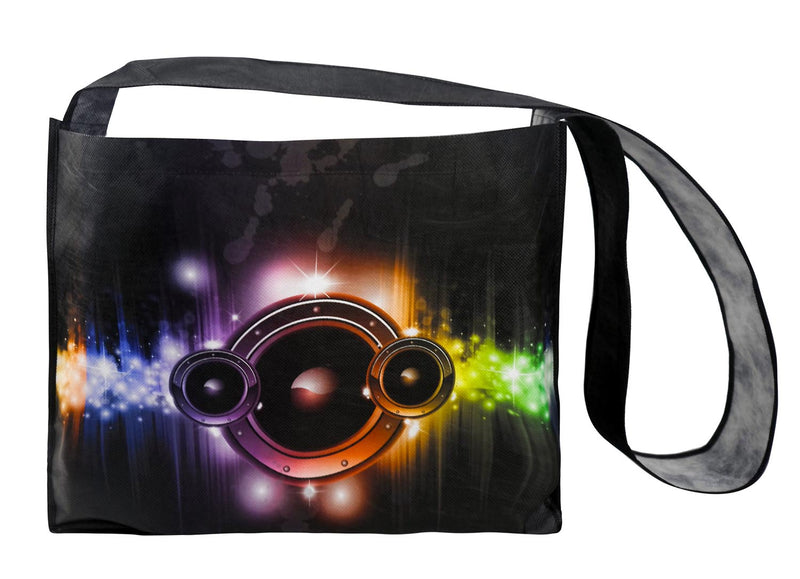 "Reusable Fabric Messenger Bag Custom Printing - 16""W X 13""H X 4""D"