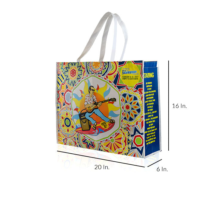"Large Reusable Shopping Bags With Handles Custom Printing 80GSM PPNW - 20""W X 16""H X 6""D"