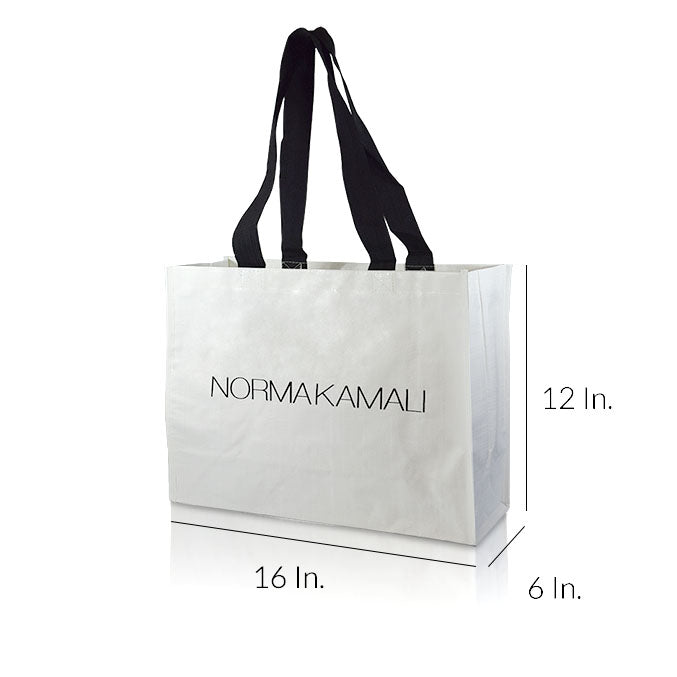 "Extra Large Laminated Non Woven Shopping Bags With Handles 16""W X 12""H X 6""D - Dimensions - Prime Line Packaging"
