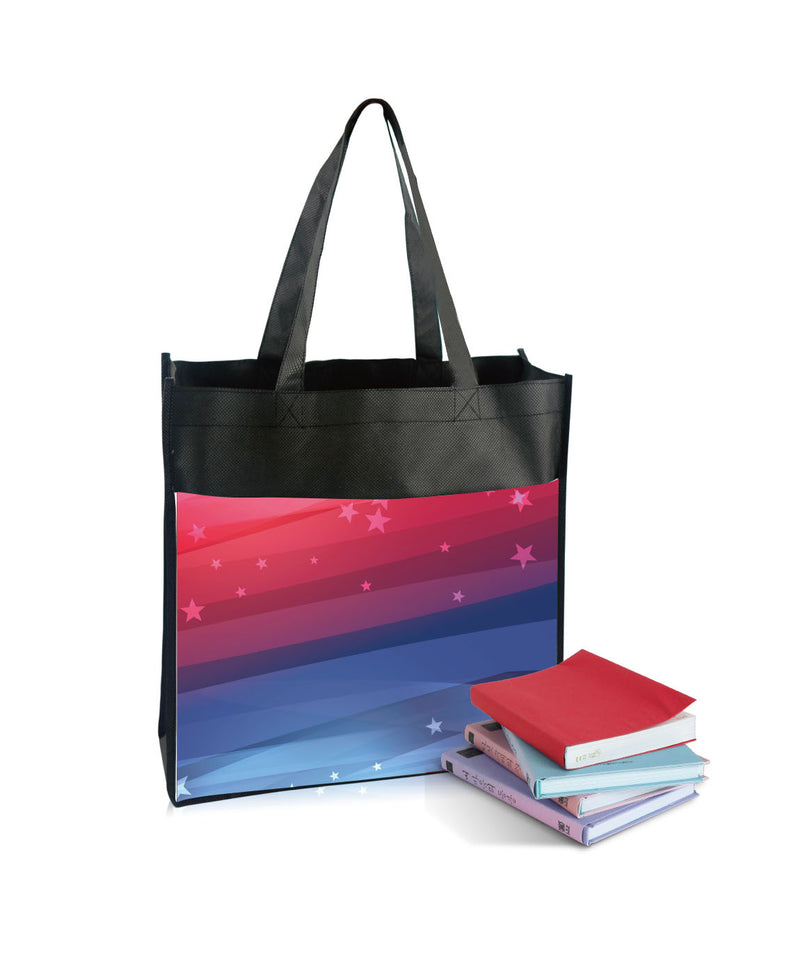"Reusable Fabric Shopping Bag with Pocket Custom Printing - 13""W X 13""H X 5""D"