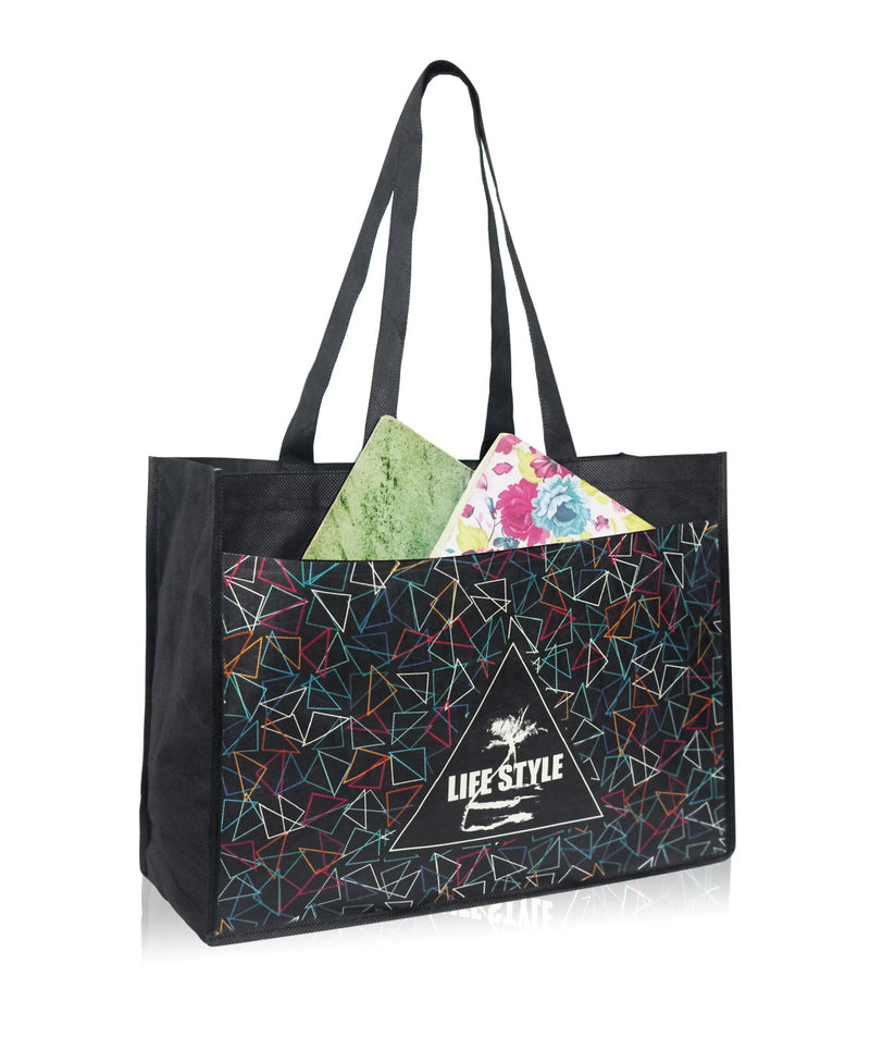 "Large Custom Printed Reusable Fabric Trade Show Bag with Pocket - 16""W X 12""H X 6""D"