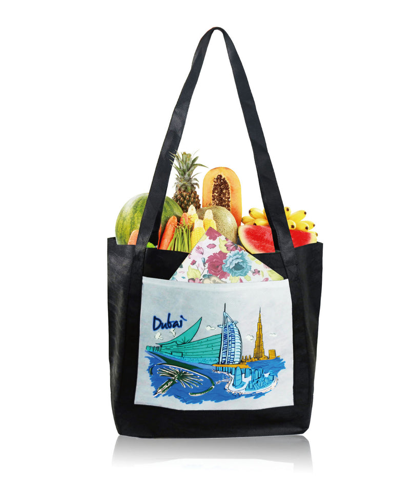 "Large Custom Printed Reusable Fabric Shopping Bag with Pocket - 18""W X 12""H X 6.75""D"