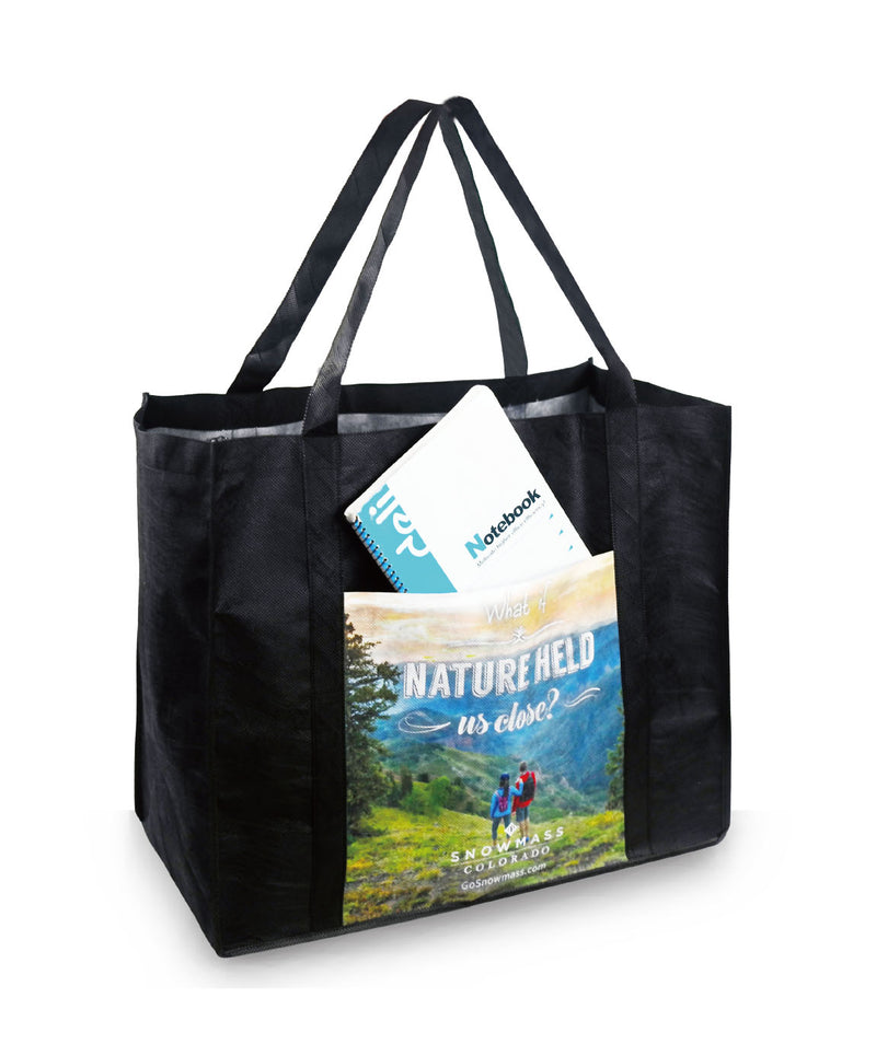 "Reusable Fabric Tote Bag with Pocket - 18""W X 15""H X 10""D"