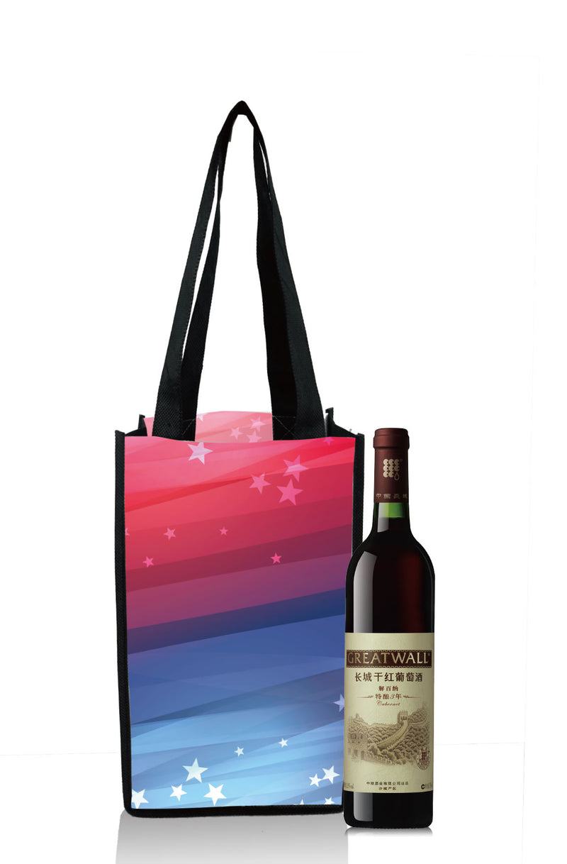 "Reusable Wine Bottle Bag Custom Printing - 1 Bottle - 4""W X 13""H X 4""D"