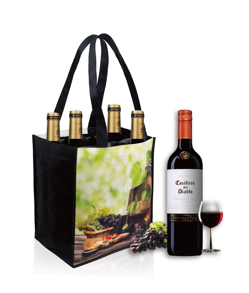 "Reusable Wine Bottle Bag Custom Printing - 6 Bottles - 10""W X 12""H X 7""D"