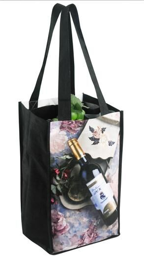 "Reusable Wine Bottle Bag Custom Printing- 4 Bottles - 7""W X 12""H X 7""D"