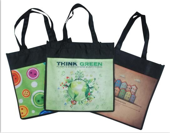 "Reusable Trade Show Bag With Pocket RPET Fabric - 13""W X 13""H X 5""D"