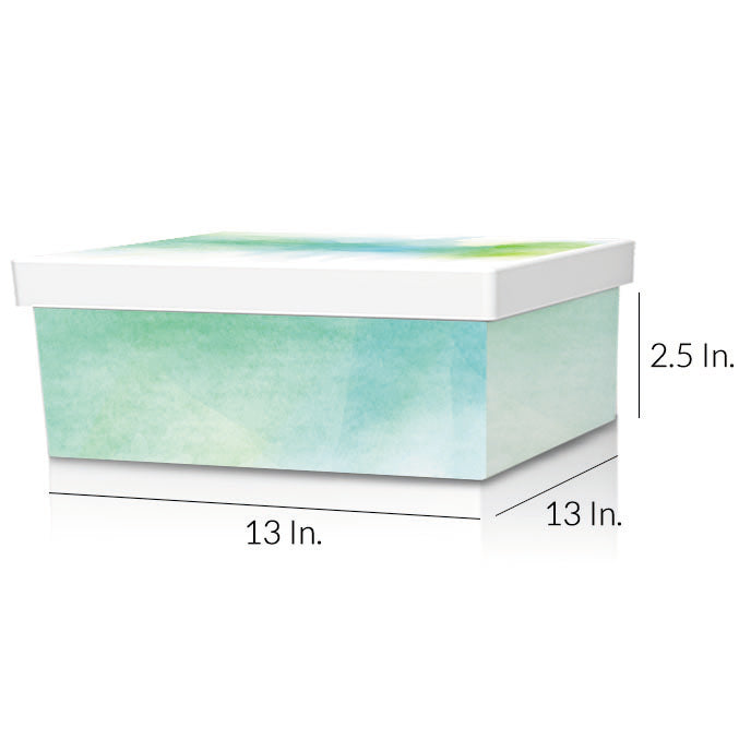 "Rigid 2 Piece Box With Base And Lid With Lamination 13""W X 13""L X 2.5""H - Dimensions - Prime Line Packaging"