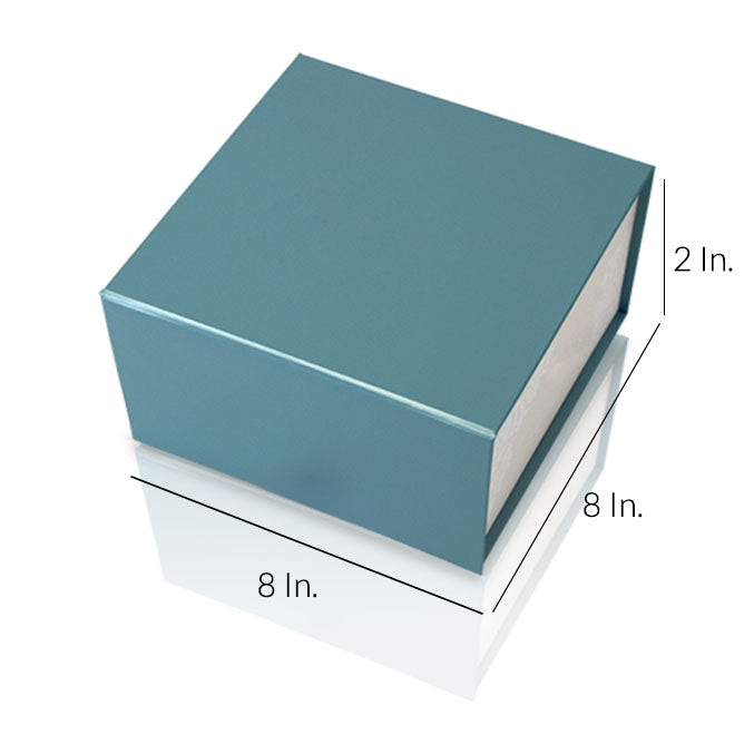 "Rigid Collapsible Printed Gift Box With Lamination 8""W X 8""L X 2""H - Dimensions - Prime Line Packaging"