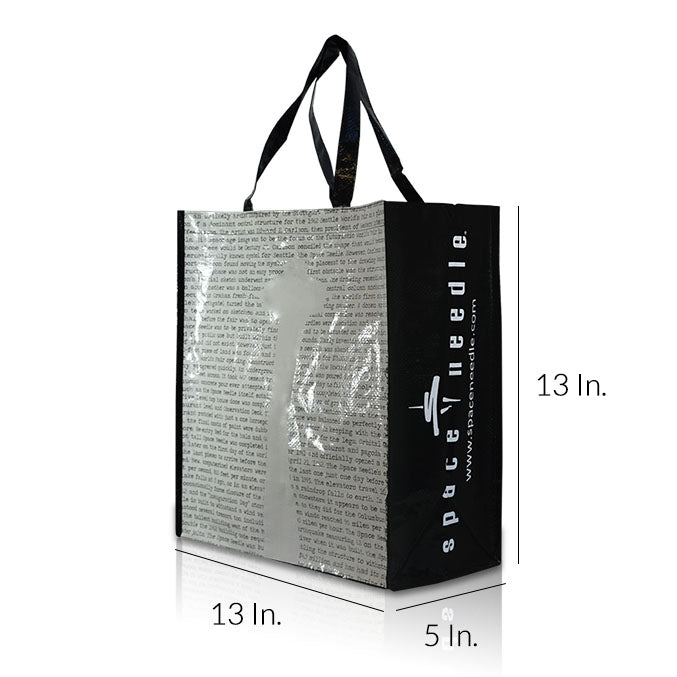 "Extra Large Laminated Non Woven Shopping Bags With Handles 13""W X 13""H X 5""D - Dimensions - Prime Line Packaging"