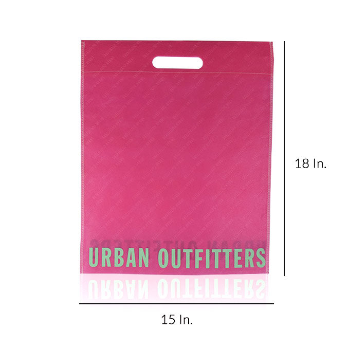 "Reusable Fabric Shopping Bags Custom Printing 80GSM PPNW 15""W X 18""H - Dimensions - Prime Line Packaging"