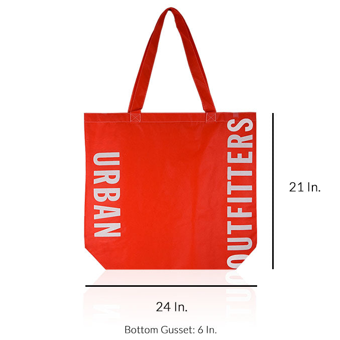 "Extra Large Reusable Shopping Bags With Handles Custom Printing 80GSM PPNW - 24""W X 21""H X 6"" Bottom Only - Dimensions - Prime Line Packaging"