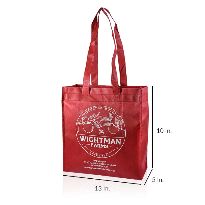 "Reusable Fabric Shopping Bags With Handles Custom Printing 80GSM PPNW - 13""W X 10""H X 5""D"