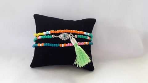 Seed Bead Bracelets with a Diamante Evil Eye
