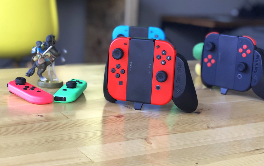Satisfye mini gaming grips for Nintendo Switch for multi play utilizing built in stands