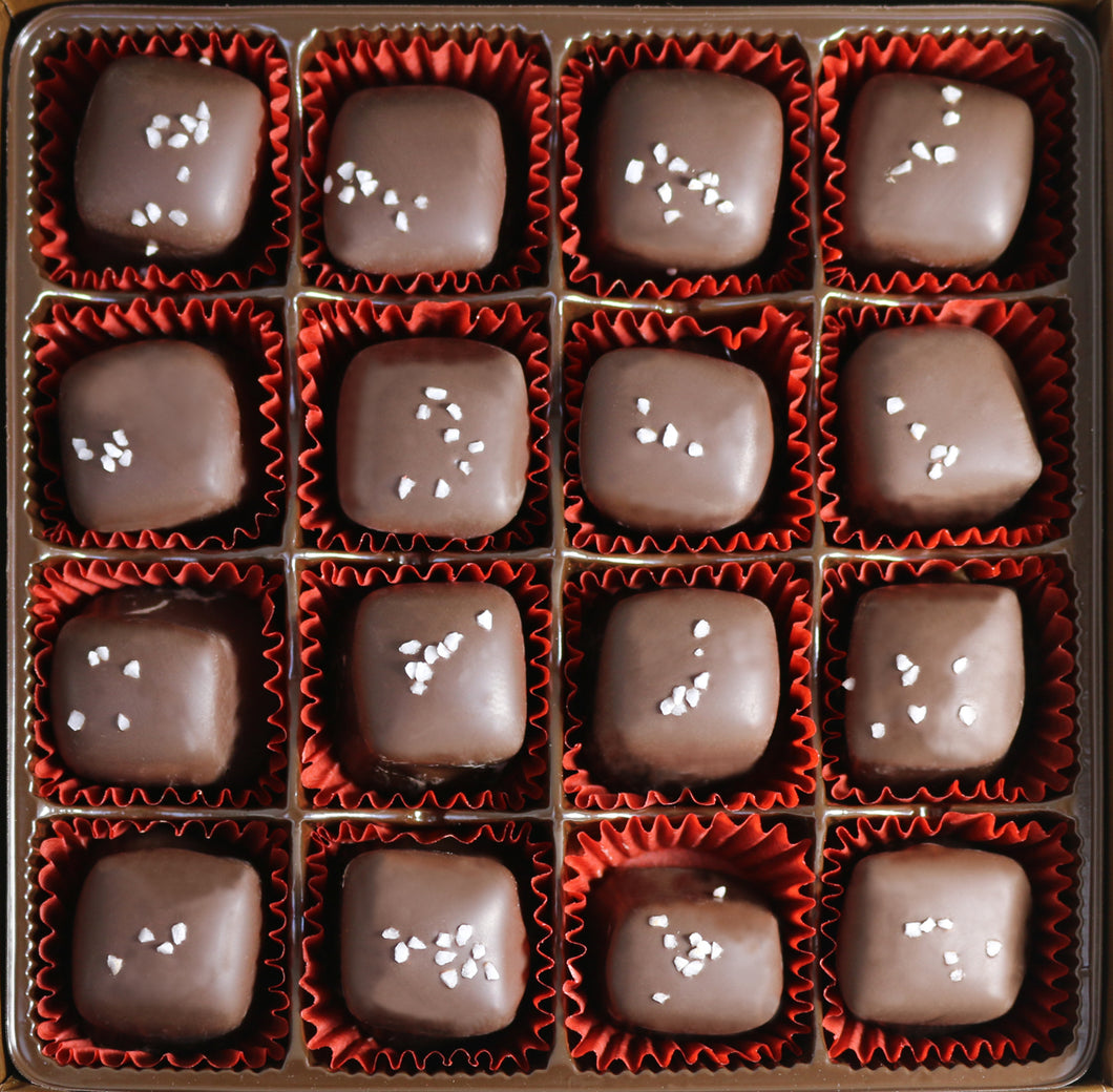 8 oz Chocolate Covered Bourbon Caramels with Sea Salt