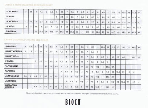 Bloch Shoe Sizing Chart