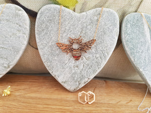 Rose gold bee plate necklace