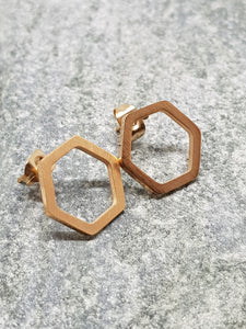 Honeycomb rose gold earrings