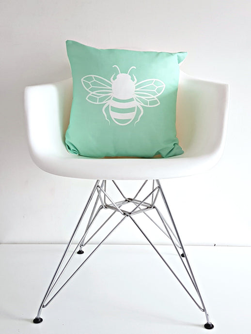 Mint Green Bee happy Bee Kind Bee Cushion