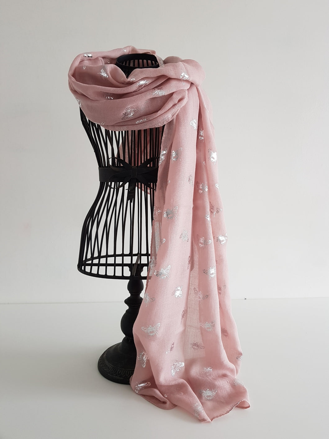 Blush with Silver Bee Scarf