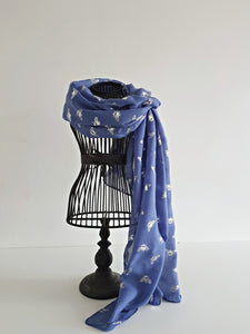 Blue with Silver Bee Scarf