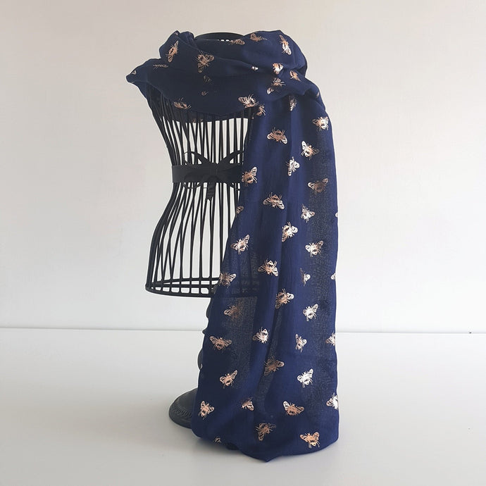 Navy with Rose Gold Bee Scarf
