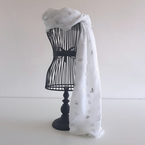 White with Silver Bee Scarf