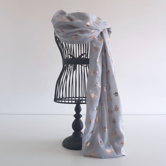Grey with Rose Gold Bee Scarf