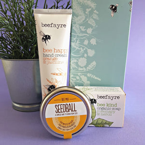 Bee Happy Hand Cream and Bee Kind Soap Gift Box with Seedballs