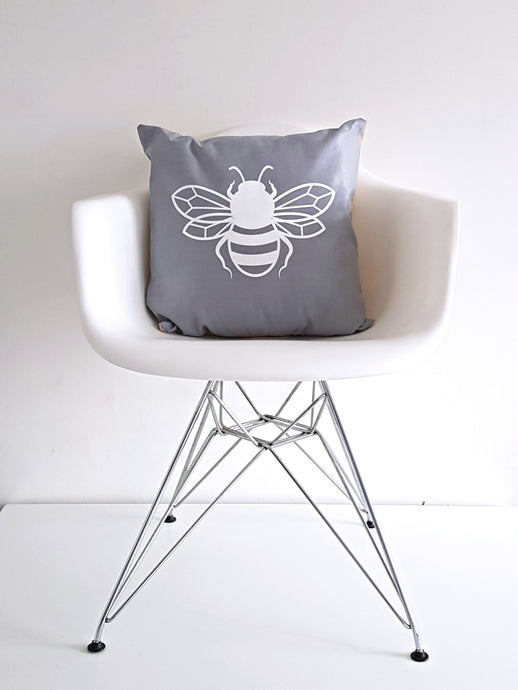 Grey Bee happy Bee kind Bee Cushion