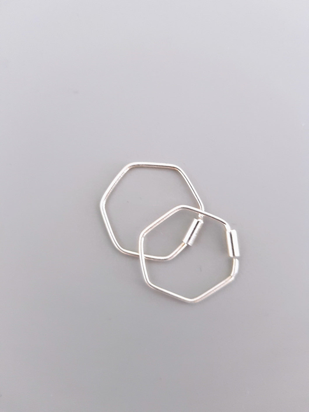 Hexagonal silver sleeper earrings