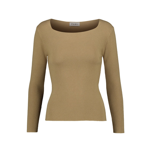 Square Neck Long Sleeve Ribbed-Knit Top