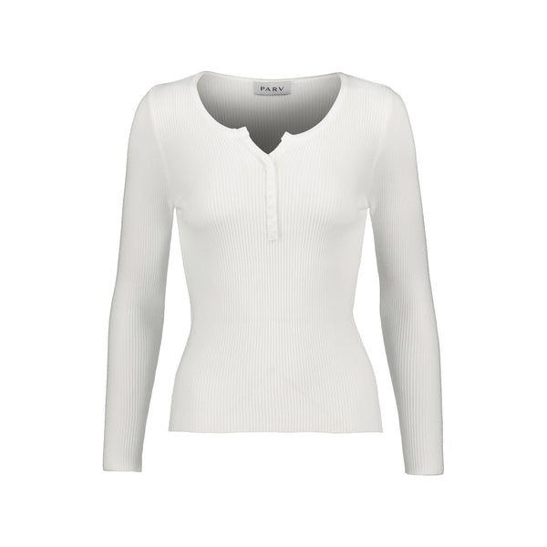 V neck bottons long sleeve rib knit top