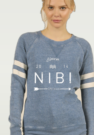 NIBI LOGO BURNOUT STRIPE CREWNECK BALI BLUE