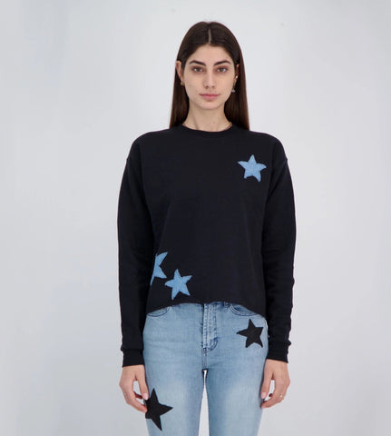 Unemployed Denim Lucky Stars Crewneck