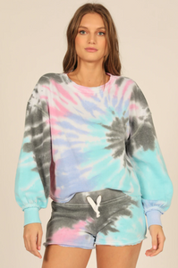 Nibi Seabreeze Tie Dye Balloon Sleeve Crewneck